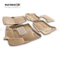 Текстильные 3D коврики Euromat3D Lux в салон для Volkswagen Touareg (2010-2017) № EM3D-004101T Бежевые