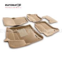 Текстильные 3D коврики Euromat3D Business в салон для Volkswagen Touareg (2010-2017) № EMC3D-004101T Бежевые