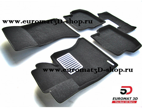 Текстильные 3D коврики Euromat3D Lux в салон для Bmw 5 (F10) (2010-2013) № EM3D-001205